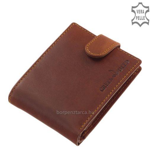 Kiváló, minőségi alapanyagból legyártottelegáns GreenDeed férfi bőr pénztárca a klasszikus tárcákra jellemző barna színben és kialakításban.