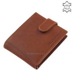 Egyszerre elegáns és sportos jellegű, kiváló minőségű bőrből készült, barna színű GreenDeed férfi bőr pénztárca átkapcsolóval, díszdobozban.