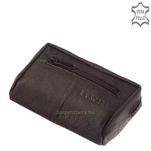 Kisméretű termékünk ez a puha tapintású, igényes marha nappa bőrből készült La Scala márkás, unisex valódi bőr kulcstartó fekete színben.