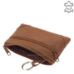 Igényes, barna színű matt valódi nappa bőrből készült praktikus kisméretű, könnyű súlyú, minőségi bőr kulcstartó mindennapi használatra.