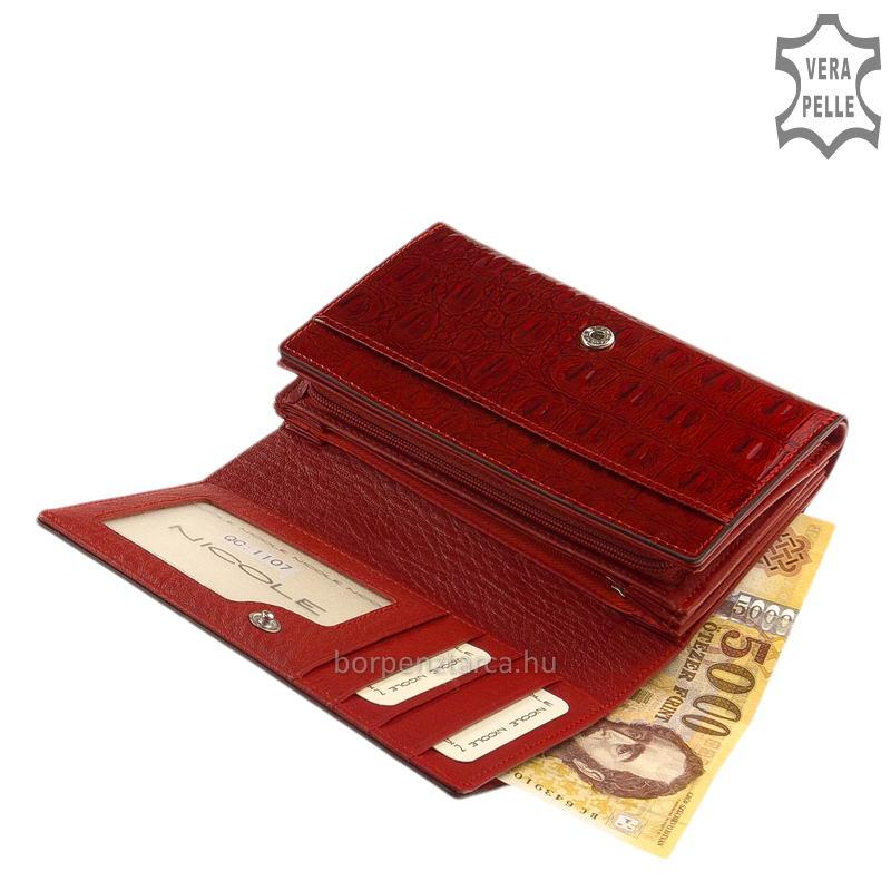 fa8f38fd41e6 Nicole bőr női pénztárca több felületi mintával C57006-587 ...