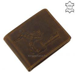 Sportos külsővel ellátott mintás barna színű férfi bőr pénztárca, mely igazán népszerű márkás termék valódi minőségi bőrből gyártva.