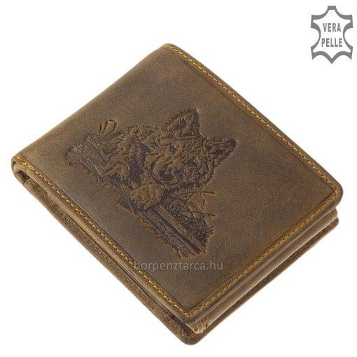 farkas mintával díszített bőr pénztárca