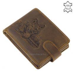 férfi bőr farkas mintával díszített pénztárca