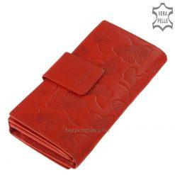 Rendkívül sokoldalú, praktikus használatot biztosító nagy méretű női divat bőr pénztárca igazán egyedi, felületi levél mintás díszítéssel.