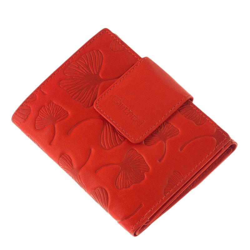 Női pénztárca levélmintás benyomattal SCL120 - Bőrpénztárca 543327685e