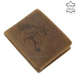 GreenDeed márkájú egyedi ló mintás, férfi bőr pénztárca, kiváló minőségű bőr felhasználásával, mely precíz kidolgozással készült.