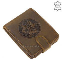 Fekvő formátumú, motívumos valódi bőr férfi pénztárca modell, minőségi külső átkapcsoló pánttal, barna színben. Kiváló ajándék lehet!