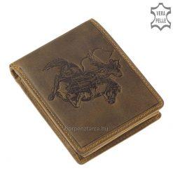 Egyedi minőségi bőr pénztárca lovas íjász motívummal, mely a valódi bőr férfi pénztárca barna színű fedelébe került benyomásra.