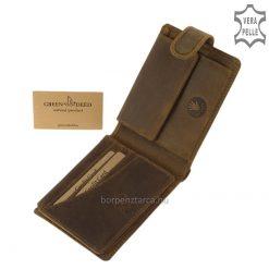 Prémium kategóriás minőségi férfi bőr pénztárca magyar íjász mintás motívummal barna színben természetes karakterű marhabőrből. Díszdobozban!