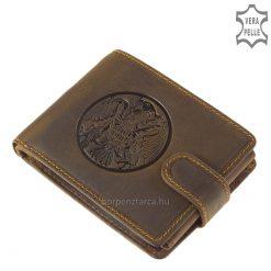 A GreenDeed díszdobozos barna színű terméke ez a turul mintás, férfi, valódi bőr pénztárca, melyet a magyar mondák legendás madara ihletett.
