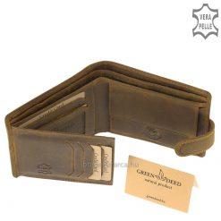 Klasszikus mintás férfi bőr pénztárca turul mintával a GreenDeed valódi bőr kollekcióból, barna színű dizánját a magyarok ősi madara ihlette.