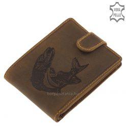 Valódi bőr férfi horgász pénztárca csuka mintás bőrbe nyomott, részletgazdag grafikával, természetes barna színben, minőségi termékünk.