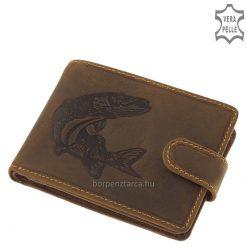 Valódi bőr férfi horgász pénztárca természetes barna színű megjelenéssel, minőségi részletes kidolgozású csuka mintával. Díszdobozban!