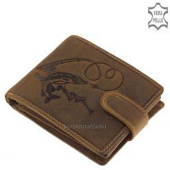 Valódi bőr férfi horgász pénztárca barna színű külsővel, melyen egy részletesen kidolgozott csuka minta látható, minőségi termék.