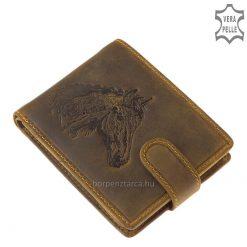 Egyedi kivitelezésű ló mintás, kiváló minőségű valódi bőr, férfi pénztárca melyet lovasok és természetbarátok számára kifejezetten ajánlunk.