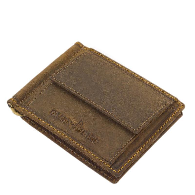 Karakteres valódi bőrből készült, minőségi GreenDeed márkajelzésű, praktikus férfi bőr pénztárca barna színben készítve. Szélein dísztűzéssel.
