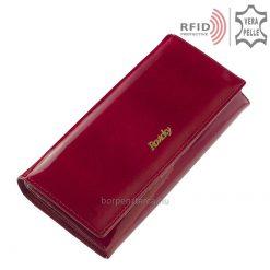 Nagyon elegáns, piros színű lakk bőr külsővel rendelkező nagy méretű női pénztárca a Rovicky márkacsaládtól. Díszdobozban érkezik Önhöz!
