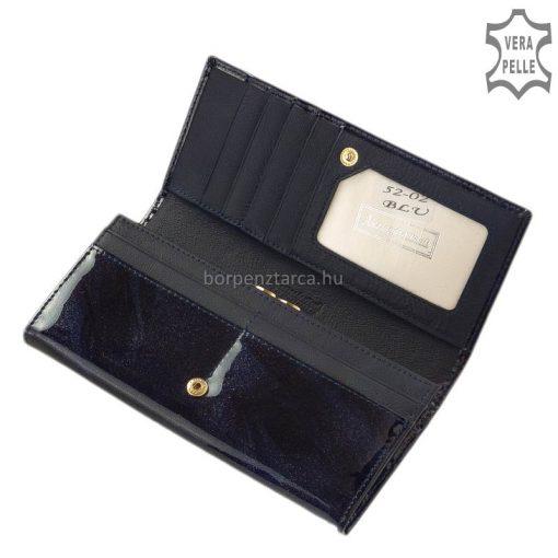 Alessandro Paoli márkájú, nagy méretű, minőségi lakk bőr női pénztárca finoman elegáns mintával fém logós fedéllel. Elegáns díszdobozban.