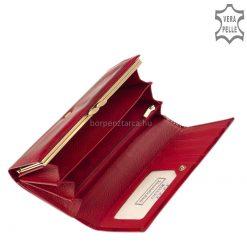 Nagyobb mérettel rendelkező, praktikus elrendezéssel készített, divatos piros színű minőségi lakk bőr női pénztárca. Több színben is elérhető