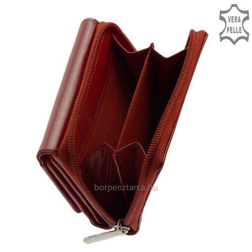 Kisebb méretű, nagyon jól kihasználható, minőségi női bőr pénztárca, valódi bőrből készítve divatos külsővel. Aprópénztartója kívül található.