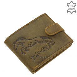 Izgalmas felülettel és sportos varrással készült lovas mintás minőségi férfi bőr pénztárca barna színben, GREENDEED kollekciónk új darabja.
