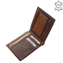 Kellemes tapintású, minőségi kivitelben készített praktikus valódi bőr férfi pénztárca, mely márkás Giultieri kollekciónk klasszikus darabja.