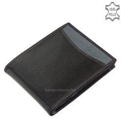Kétfelé hajtható, egyedi és divatos bőr férfi pénztárca közepes méretben, mely két különböző színű bőrből készült barna és fekete színekben.