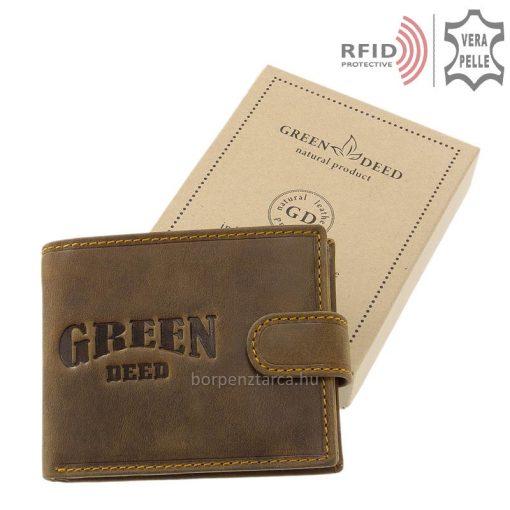 GreenDeed sportosan elegáns, valódi bőr férfi pénztárca, mely minőségi karakteres marhabőr felhasználásával készült igazán egyedi termék.