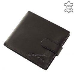 Puha tapintású, a valódi bőr klasszikus színével megegyező dísztűzéssel ellátott márkás férfi slim pénztárca praktikus belsővel.