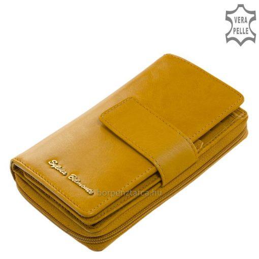 Rendkívül sok funkcióval tervezett, dekoratív és egyedi megjelenésű, minőségi alapanyagokból készített márkás női bőr pénztárca modell.
