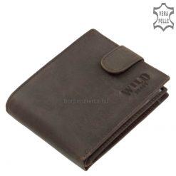 Minőségi marha bőr felhasználásával gyártott sportos küllemű WILD BEAST márkás egyedi férfi pénztárca, barna színben.