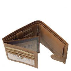 Igazi bőrből készült átkapcsoló pánttal zárható, egyedi megjelenésű és klasszikus fazonú valódi bőr férfi pénztárca.