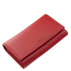 Valódi nappa bőrből készített, minőségi LA SCALA márkájú nagy méretű női divat bőr pénztárca, melyet fekete és piros színben kínálunk.