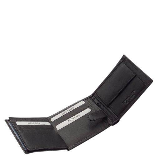 Fekete színben készült, klasszikus kialakítású igazán elegáns, minőségi férfi bőr pénztárca valódi bőrből, külső átkapcsolós modell.