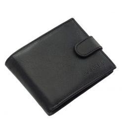 Klasszikus megjelenésű, puha tapintású, valódi nappa bőrből készült férfi bőr pénztárca fekete színű, külső patentos átkapcsolóval zárható.