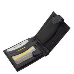 Klasszikus kialakítású, kényelmesen használható férfi bőr pénztárca, fekete színű külsővel gyártva valódi minőségi bőrből.
