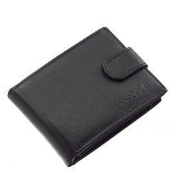 Kellemes,puha tapintásún valódi bőrből gyártott férfi bőr pénztárca fekete színben és praktikus belsővel a LA SCALA márkacsaládtól.