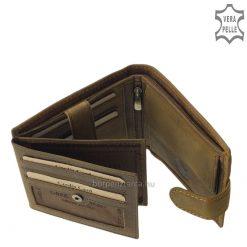 Valódi bőr felhasználásával készült minőségi férfi bőr pénztárca, melynek mintás barna színű külsejét átkapcsoló pánttal tudjuk rögzíteni.