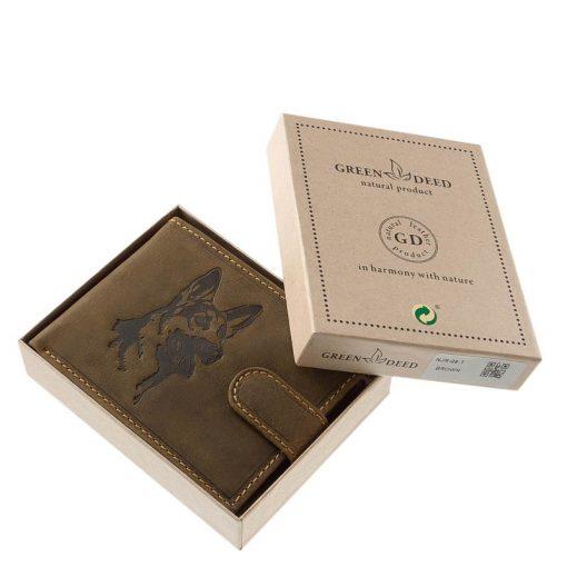 Prémium bőr férfi pénztárca természetes karakterű, barna minőségi bőrből, melynek fedelére egy német juhász kutya mintás képe került.