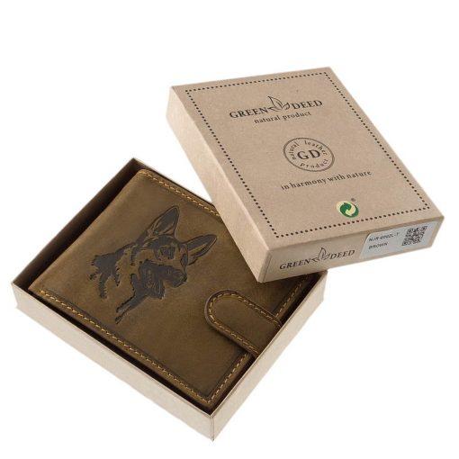 GreenDeed minőségi kollekciónk barna színű mintás felületű, rusztikus hatású, valódi bőr férfi pénztárca, mely remek választás a mindennapokra