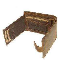 Rusztikus jellegű, barna színű minőség valódi bőrből készült mintás horgász férfi bőr pénztárca a GreenDeed termékcsaládból.