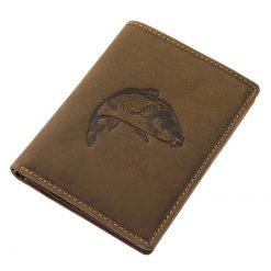 Egyedi megjelenésű, álló kivitelű minőségi horgász irattartó pénztárca, amely natúr jellegű rusztikus valódi bőrből lett készítve.