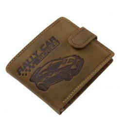 Természetes karakterű minőségi bőrből gyártott férfi bőr pénztárca, barna színű külsején részletesen kidolgozott rally autós grafikával.