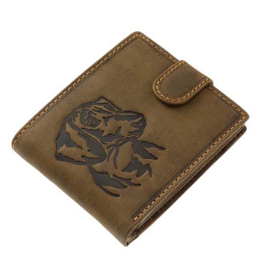 Egyedi barna színű, saját tervezésű kutyás férfi bőr pénztárca modellünk, fedelén tacsi mintával, minőségi valódi bőrből gyártva.