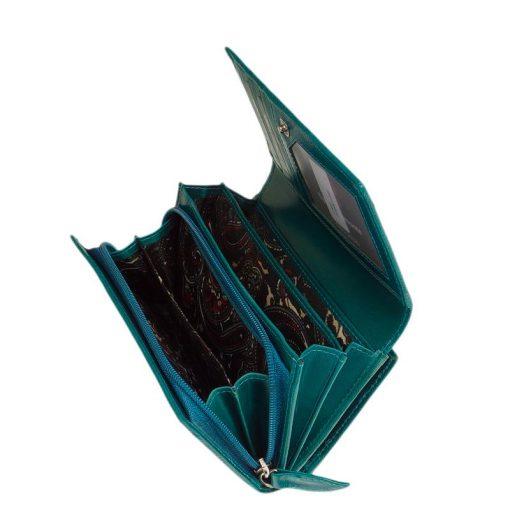 Sylvia Belmonte termékcsaládunk nagy méretű darabja ez a bőr női divat pénztárca, mintás felületén dekoratív virág-, és indaminta fut végig.
