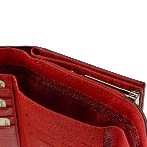Divatos női bőr pénztárca elegáns megjelenésű lakozott felületű valódi bőrből piros színben , Nicole márkás fémlogóval fedelén