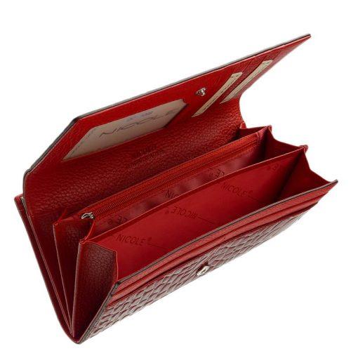 Igazán divatos valódi bőr női pénztárca piros színben , Nicole márkás fémlogóval fedelén