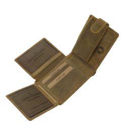 Minőségi valódi marha bőrből készített barna színű horgász bőr pénztárca a GreenDeed márkacsaládtól.