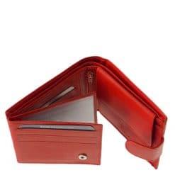 Kisméretű és egyben praktikus női bőr pénztárca, melyet finom tapintású piros színű valódi bőrből gyártottunk RFID védelemmel ellátott modell